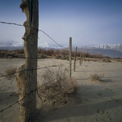 An old hand-hewn fence stands in the Owens Valley, a long ago remnant of ranch boundaries before the City of Los Angeles bought up the land to get the water rights.