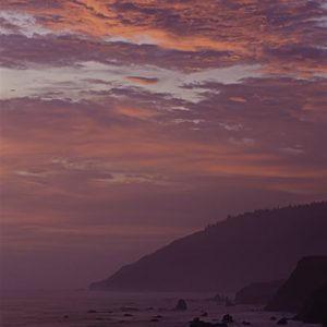 A spectacular sunset over the Lost Coast in Northern California shows the rocky coastline that made it so difficult for this area to be a viable lumber region.